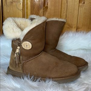 UGG Bailey Charm Tassel Button Leather Boots 9